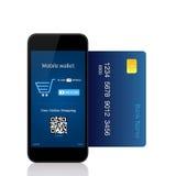 Den isolerade telefonen gör online-köpet med kreditkorten royaltyfri bild