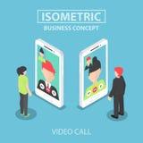 Den isometriska affärsmannen gör den videopd appellen med hans kollega Royaltyfri Foto