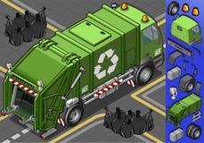 Den isometriska avskrädet åker lastbil stock illustrationer