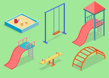 Den isometriska begreppsrengöringsduken för lägenhet 3D lurar lekplatsuppsättningen Arkivbild