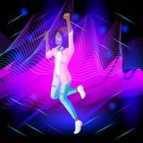Den isometriska flickan på bakgrunden av musikalen vinkar, flickan dansar, trådar av hår är framkallning som hoppar vektor illustrationer