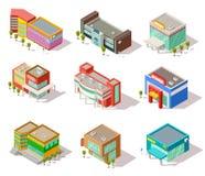 Den isometriska gallerian, lager, shoppar och supermarketbyggnader Vektorstadsarkitektur isolerade uppsättningen stock illustrationer