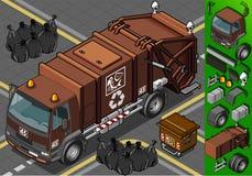 Den isometriska humid förlorada avskrädet åker lastbil royaltyfri illustrationer