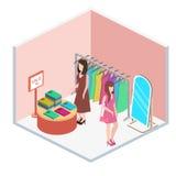 Den isometriska inre av kläder shoppar Arkivfoton