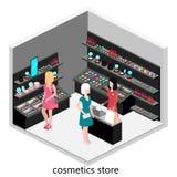 Den isometriska inre av skönhetsmedel shoppar Arkivbild