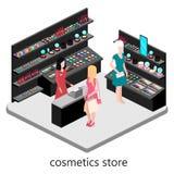 Den isometriska inre av skönhetsmedel shoppar Royaltyfri Foto