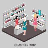 Den isometriska inre av skönhetsmedel shoppar Arkivbilder