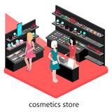 Den isometriska inre av skönhetsmedel shoppar Arkivfoton