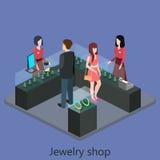 Den isometriska inre av smycken shoppar Arkivfoto