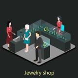Den isometriska inre av smycken shoppar Royaltyfria Bilder