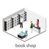 Den isometriska inre för lägenheten 3D av boken shoppar Arkivbilder
