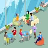 Den isometriska inre kontorskantin och kopplar av område med folk stock illustrationer