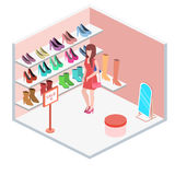 Den isometriska inre skon shoppar Royaltyfria Bilder