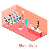Den isometriska inre skon shoppar Royaltyfri Foto