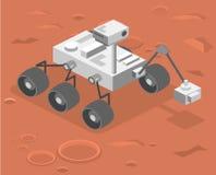 Den isometriska lägenheten 3D isolerade det vektorRover anseendet på Mars Royaltyfri Bild