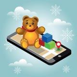 Den isometriska online-e-komrets leksaken shoppar Sökande av jul och gåvor och av leksaker för nytt år av barnsliga Hem- leverans royaltyfri illustrationer