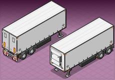 Den isometriska släpfrigoen åker lastbil Arkivbild