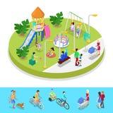 Den isometriska staden parkerar sammansättning med barnlekplatsen och gåfolk utomhus- aktivitet Arkivbild