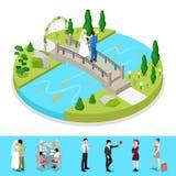 Den isometriska staden parkerar sammansättning med brölloppar utomhus- aktivitet royaltyfri illustrationer