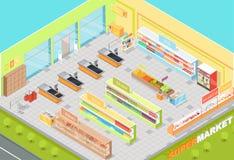 Den isometriska supermarketavdelningsinre 3d shoppar Arkivbilder