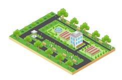 Den isometriska vektordesignen av den gröna staden parkerar med rekreationsområde och träd som isoleras på vit bakgrund royaltyfri illustrationer
