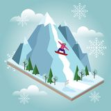 Den isometriska vektorkvinnan drar av berget Snowboarding vintersport Olimpic lekar, rekreationlivsstil, aktivitet royaltyfri illustrationer