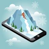 Den isometriska vektormannen drar av berget Alpin skidåkning, vintersport Mobil navigering Video och foto keeped in Royaltyfri Foto