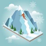 Den isometriska vektormannen drar av berget Alpin skidåkning, vintersport Olimpic lekar, rekreationlivsstil, aktivitet Arkivbild