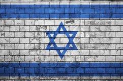 Den Israel flaggan målas på en gammal tegelstenvägg stock illustrationer