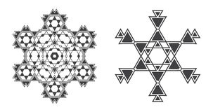 Den Israel Jew Ethnic Fractal Mandala vektorn ser som snöflingan eller vektor illustrationer
