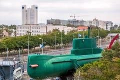 Den israeliska ubåten i maritimt museum i Haifa fotografering för bildbyråer