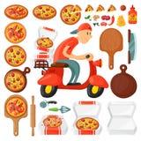 Den italienska kuriren för tecknade filmen för pizzeria för pojken för kockpizzaleveransen på mopeden och levererar mål för parti royaltyfri illustrationer