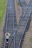 Den järnväg linjen som köpte miljoner av fångar till den Auschwitz-Birkenau koncentrationsläger nära Oswiecim i Polen royaltyfria bilder