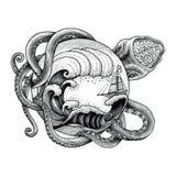 Den jätte- bläckfisken som anfaller skeppet, och den stora havvågen räcker teckningsvin stock illustrationer