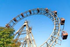 Den jätte- Ferris Wheel på den viennese Prateren, Wien Fotografering för Bildbyråer