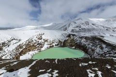 Den jätte- vulkan Askja erbjuder en sikt på två kraterlakes Det mindre, turkos en kallas Viti och innehåller varm geotermisk wate arkivbild