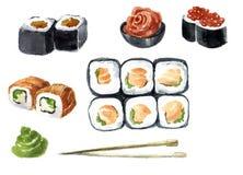 Den Japan vattenfärgen skissar sushiuppsättningen Olika sorter av rullar, makien och mer Rice och fisk Konstillustration Tappning vektor illustrationer