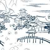 Den japanska bevekelsegrundsymbolvektorn skissar den traditionella modellen arkivbild