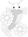 Den japanska eller kinesiska Koi fisken fodrar konst royaltyfri illustrationer
