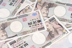 Den japanska sedeln, yen är officiell valuta av Japan arkivbilder