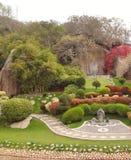 Den japanska trädgården parkerar den romantiska naturen för den härliga trädbonsai royaltyfria foton