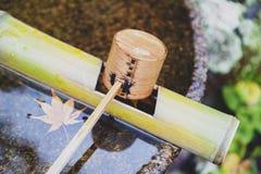 Den japanska träreningskopan i en van vid chozubachi- eller vattenhandfat sköljer händerna i japanska tempel Arkivbild
