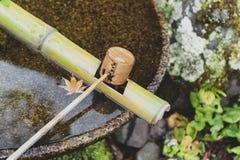 Den japanska träreningskopan i en van vid chozubachi- eller vattenhandfat sköljer händerna i japanska tempel Royaltyfri Foto