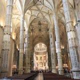 Den Jeronimos klosterinre i Lissabon, Portugal Royaltyfri Bild