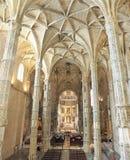 Den Jeronimos klosterinre i Lissabon, Portugal Fotografering för Bildbyråer