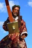 Den Jesus Christ statyn kom med till den Lenten traditionella gataprocessionen för den heliga veckan arkivbild