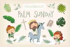 Den Jesus ridningåsnan som skriver in Jerusalem gömma i handflatan på, söndag royaltyfri illustrationer
