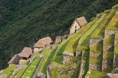 Den jordbruks- stenen terrasserar på Machu Picchu i Peru Royaltyfri Bild