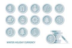 Den julCryptocurrency logoen ställde in - den Santa Claus hatten, klockan, pepparkakamannen, bollen, hjort, snögubben, gåvan, tum royaltyfri illustrationer