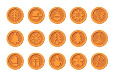 Den julCryptocurrency logoen ställde in - den Santa Claus hatten, klockan, pepparkakamannen, bollen, hjort, snögubben, gåvan, tum stock illustrationer